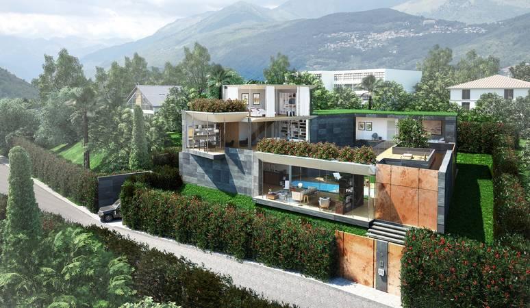 Nuova costruzione villa moderna a montagnola collina d oro for Progetto casa moderna nuova costruzione